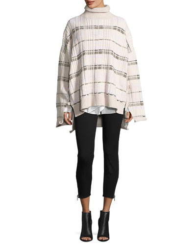 Abstract Float-Plaid Drape Back Knit Poncho and Matching Items