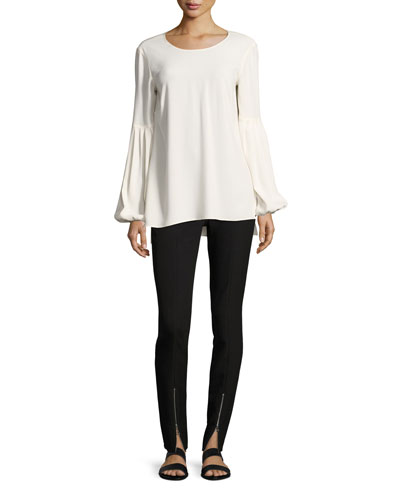 Harriet Blouson-Sleeve Round-Neck Crepe Top and Matching Items