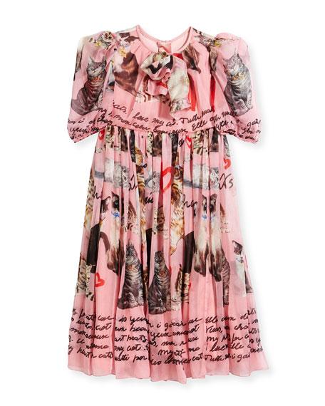Chiffon Cat-Print Dress, Size 4-6