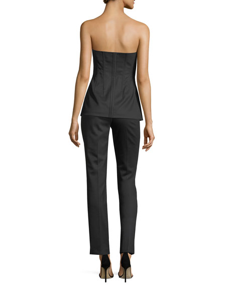 Straight-Leg Wool-Blend Tux Pants