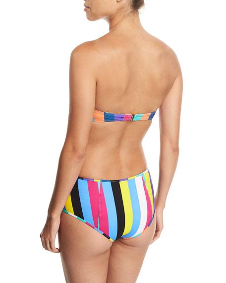 High-Waist Striped Swim Bottoms