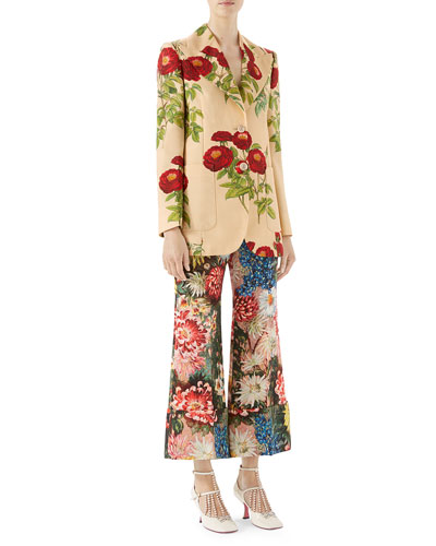 Floral-Embroidered Jacket and Matching Items