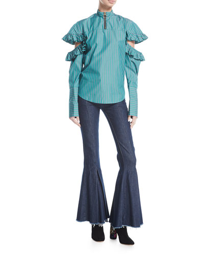 Dreamer Mid-Rise Pleated Flared Denim Pants and Matching Items