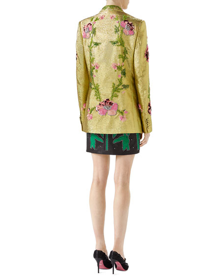 Iridescent Floral-Embroidered Crepe Jacket