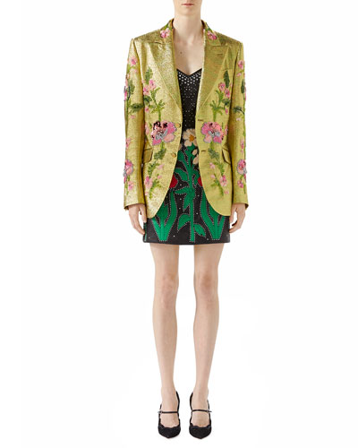 Iridescent Floral-Embroidered Crepe Jacket and Matching Items