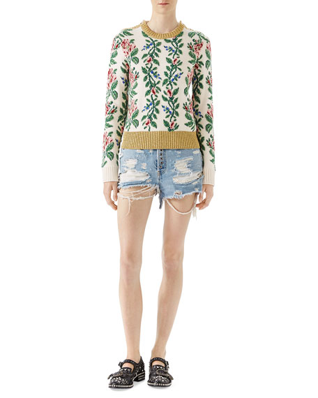 Floral Jacquard Pullover Sweater