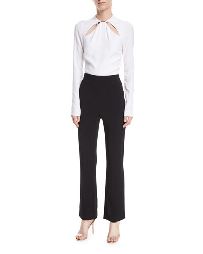 Flared High-Waist Crepe Pants and Matching Items