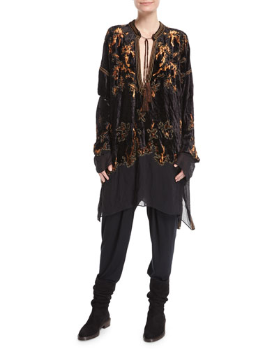 Embroidered Velvet Tassel-Tie Tunic and Matching Items