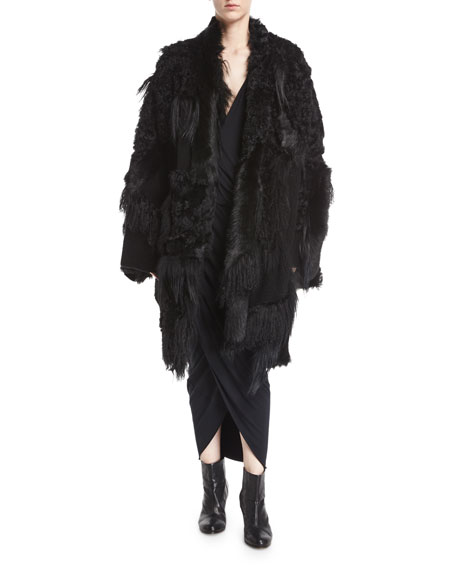 Carpet Shearling Fur Kimono Coat