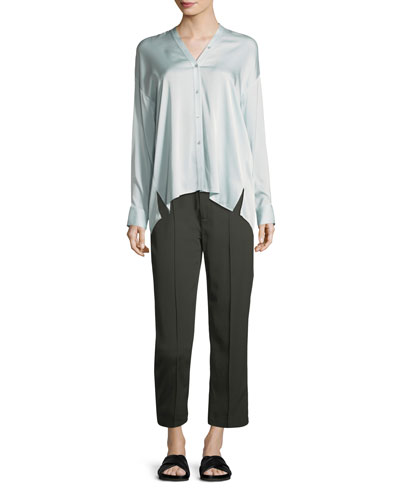 Trapunto V-Neck Button-Front Silk Blouse and Matching Items
