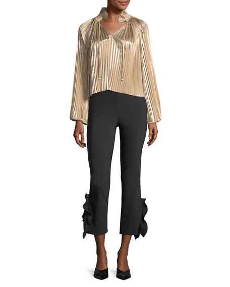 Foil Pleated Split-Front Long-Sleeve Top