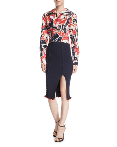 Crisscross Rib-Knit Pencil Skirt and Matching Items