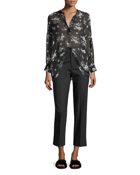 Tossed Floral-Print Shirred Sheer Silk Blouse