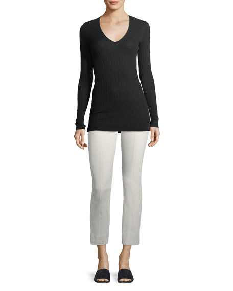 Mixed Rib V-Neck Cashmere Sweater