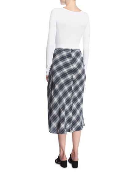Shadow Plaid Side-Drape A-Line Midi Skirt