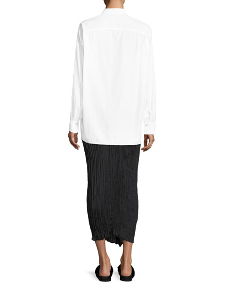Raw-Edge Button-Front Oversized Shirt
