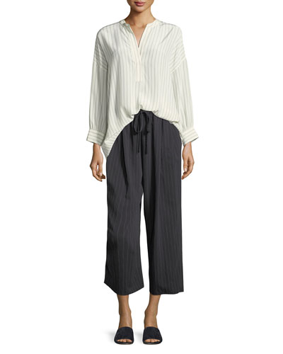 Pinstripe Drawstring Wide-Leg Crop Pants and Matching Items