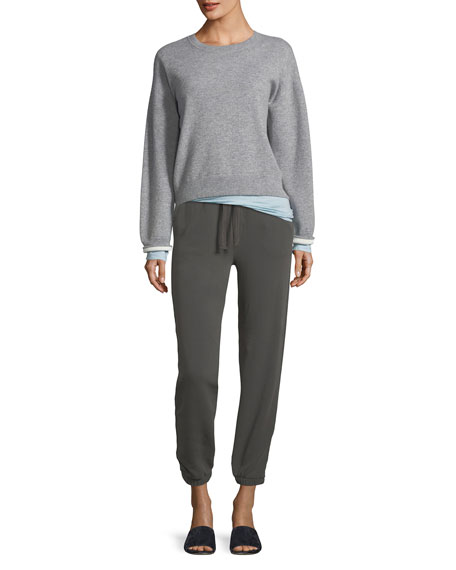 Drawstring Pull-On Cotton Jogger Sweatpants