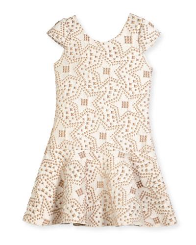 Cali Knit Jacquard Studded Flounce-Hem Dress, Size 4-6X and Matching Items