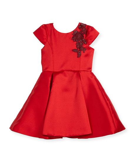 Deep-Pleat Swing Dress w/ Floral Embroidery Shoulder, Size 4-6X