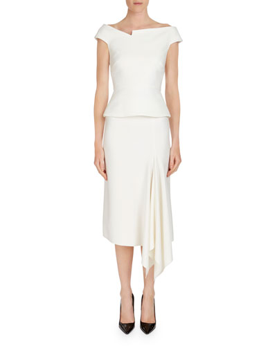 Morpeth Crepe Pencil Skirt w/ Asymmetric Side Drape and Matching Items