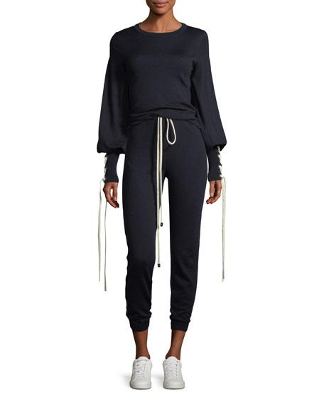 Knit Sweater w/Tie Cuffs