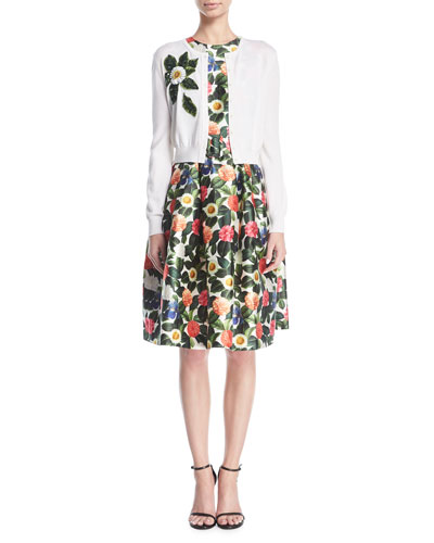 Belted Floral Jacquard Day Dress and Matching Items