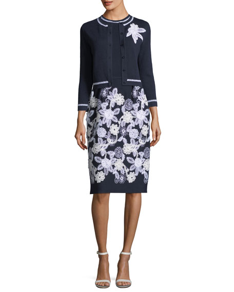 Sleeveless Floral-Embroidered Day Dress