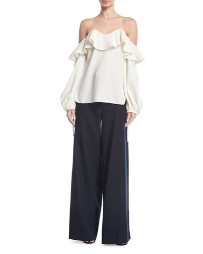 Wide-Leg Gabardine Pants and Matching Items