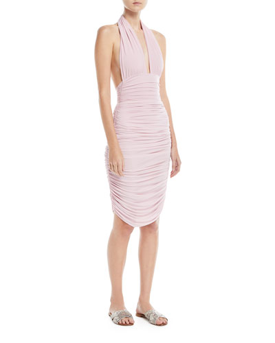 Plunging Halter Ruched One-Piece Swimsuit and Matching Items