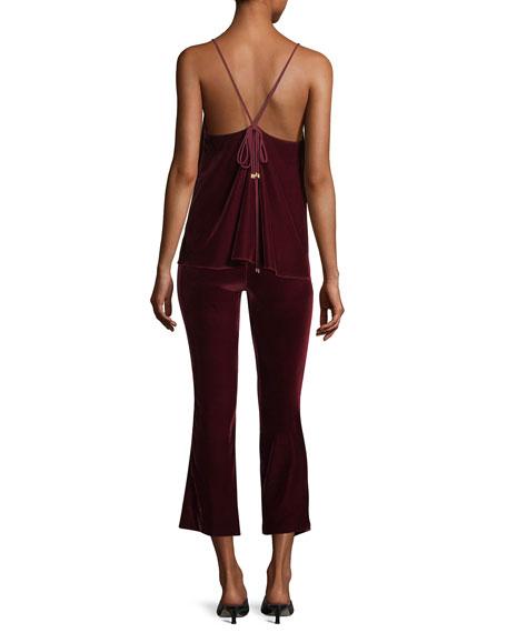 Cropped Flare Velvet Trousers