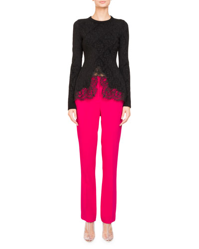Stretch-Cady Straight-Leg Pants and Matching Items