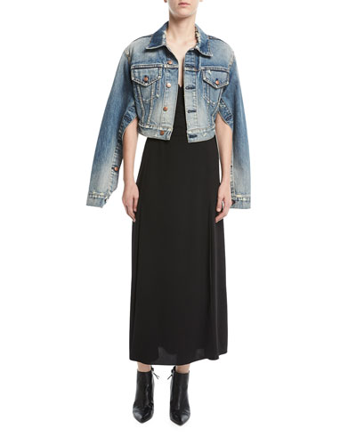 Side-Slit V-Neck Midi Dress and Matching Items