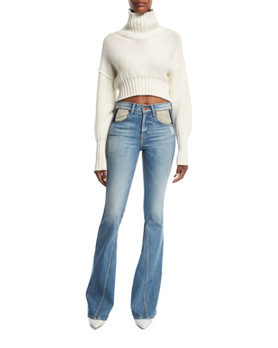 Flared Curve-Seam Denim Jeans and Matching Items