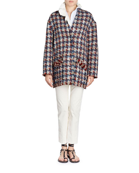 Jamsy Button-Front Oversized Tweed Caban Coat