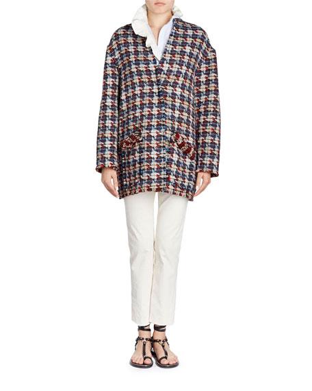 Jamsy Button-Front Oversized Tweed Caban Coat