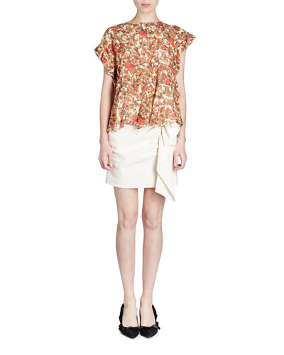Floral-Print Flutter-Sleeve Top and Matching Items