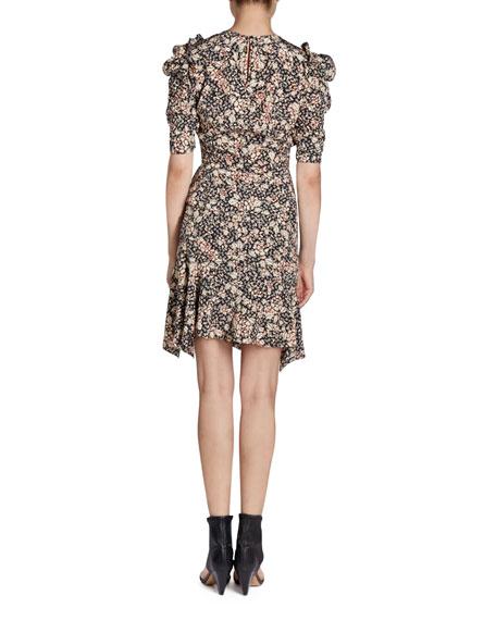 Brizo Puffed-Sleeve Floral-Print Top