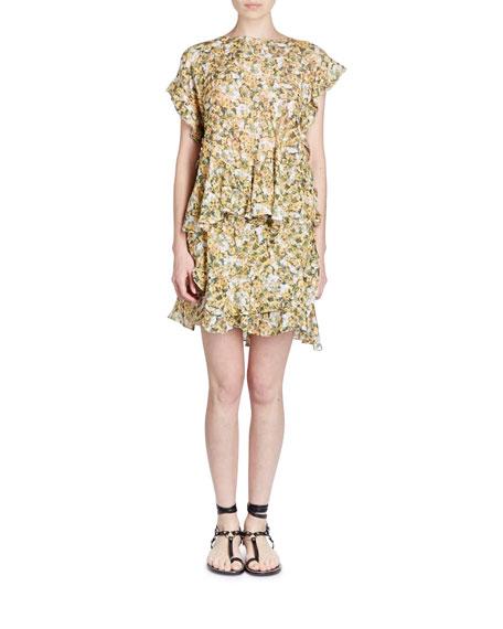 Fliren Floral-Print Flutter-Sleeve Top