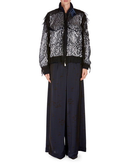 Grid-Print Satin Pants