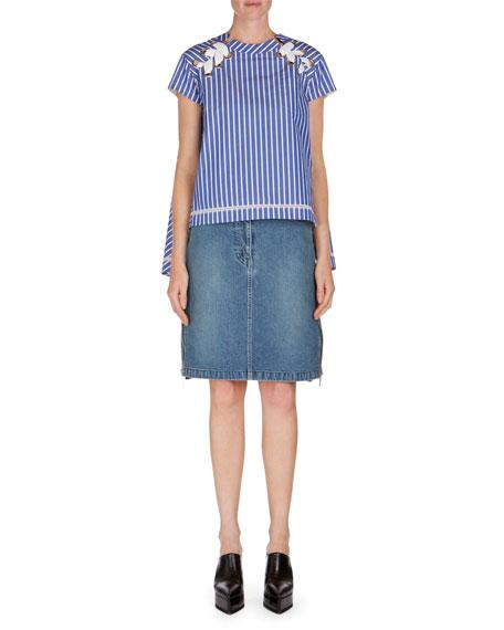 Ruffle-Side Denim Skirt