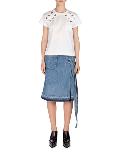 Lace-Up Denim Skirt and Matching Items