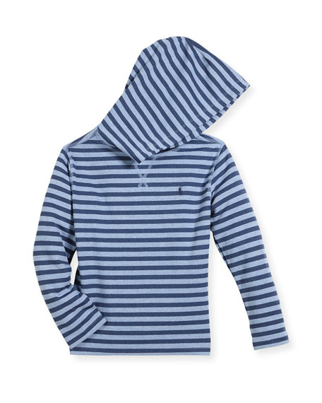 Stripe Waffle-Knit Hooded T-Shirt, Size 5-7