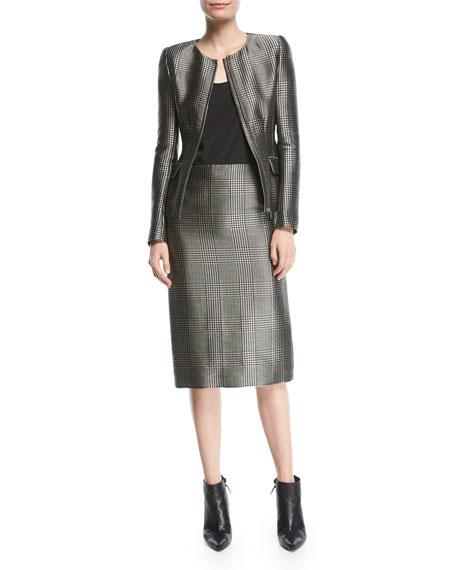 Lorraine Houndstooth Zip-Front Jacket