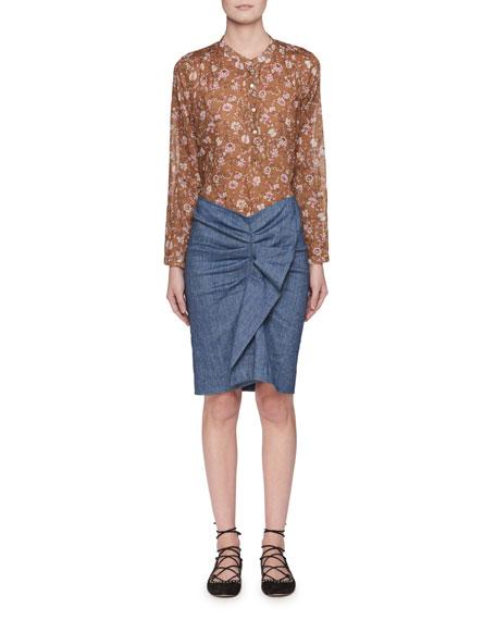 Maria Floral-Print Semisheer Cotton Blouse