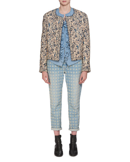 Hustin Printed Quilt Jacket with Studs Trim