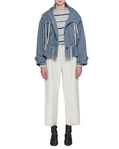 Lagilly Hooded Drawstring Denim Jacket and Matching Items
