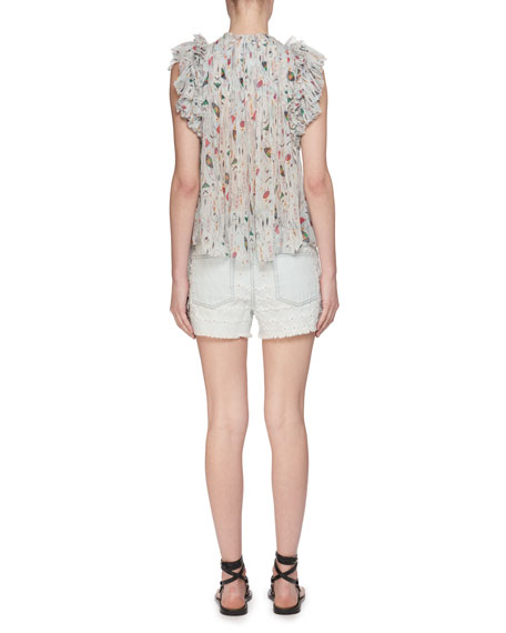 Erell Sleeveless Sheer Printed Silk Blouse