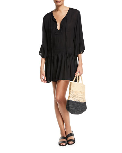 Agata Long-Sleeve Short Coverup Dress and Matching Items