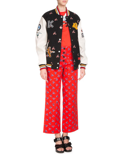 Floral-Print Button-Front Trousers and Matching Items